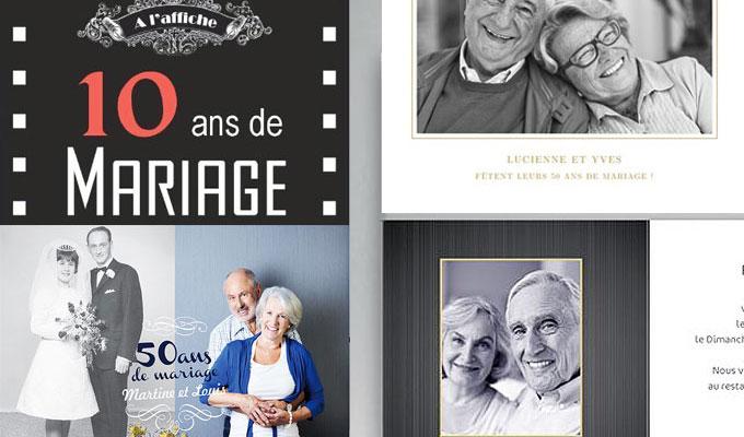cartes pour noces anniversaires de mariage