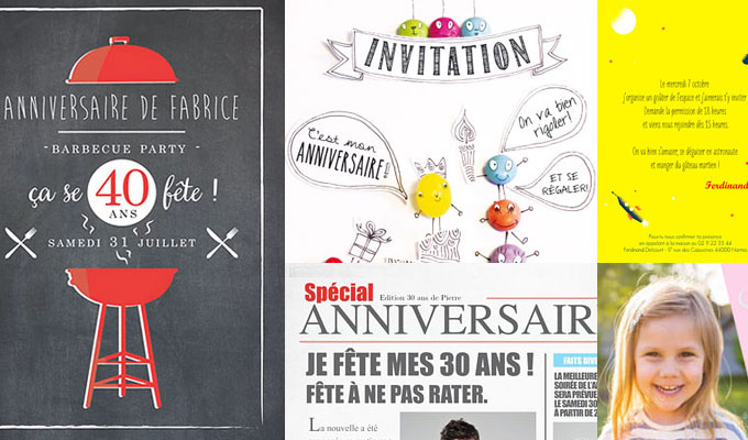 cartes d'invitation à un anniversaire